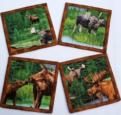 Elk Moose coasters  Quilted wildlife coasters  by RedNeedleQuilts, $17.00
