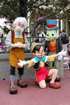 Pinocchio, Geppetto, and Jiminy Cricket.