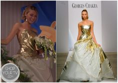 Serena Van der Woodsen (Blake Lively) wear this gorgeous gold wedding dress at the end of this week's finale episode of Gossip Girl. It is theGeorges Chakra Spring 2011 Couture Gown.
