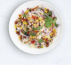 Mixed Bean & Wild Rice Salad Recipe on Yummly Ham Salad, Onion Salad, Pasta Salad, Quinoa, Rice Salad Recipes, Lunch Recipes, Vegan Recipes, Healthy Green Beans, Cooking Basmati Rice