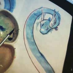 WIP/ Dragonair and trainer #dragonair #trainer #dragon #dragontype #pokemon #trainer #anime #commission #watercolor #drawing #brush #cute #sketchbook #art #wip #paper #ink #fanart #blue #character #lira #ricardolira by rickslira
