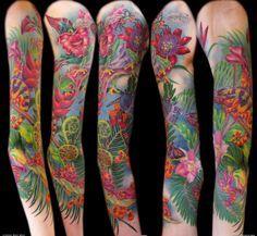 Billedresultat for floral sleeve tattoos Natur Tattoo Arm, Natur Tattoos, Kunst Tattoos, Art Tattoos, Tropisches Tattoo, Tattoo Bunt, Piercing Tattoo, Piercings, Lizard Tattoo