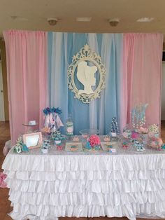 Blue and pink dessert table at a Cinderella birthday party! See more party planning ideas at CatchMyParty.com!