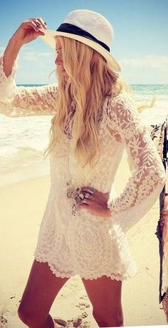 Lace Beach Bikini Cover-up ♥ always love lacy things!   http://HotWomensClothes.com/swimwear