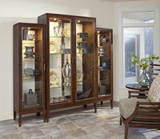 Fine Furniture Design Boulevard Center Display Cabinet With Side Cabinets in Gateway finish Furniture Risers, Cube Furniture, Furniture Showroom, Cabinet Furniture, Furniture Sale, Dining Room Furniture, Luxury Furniture, Furniture Design, Country Dining Rooms
