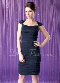 Sheath/Column Scoop Neck Knee-Length Chiffon Charmeuse Mother of the Bride Dress With Ruffle Beading Sequins (008006295) - DressFirst @Lisa Phillips-Barton Dow