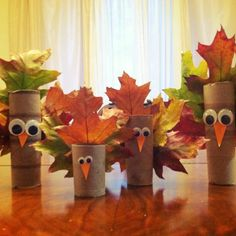 TP roll leaf turkeys... use fake leaves from a craft store (or trace & cut leaves out of construction paper), if you don't want them getting dry and brittle, and falling apart after a few days!