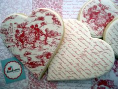 French Heart Cookies Cookieria By Margaret, biscoito decorado, bolacha decorada