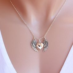 Locket Angel Wing Necklace Sterling Silver Locket by LifeOfSilver