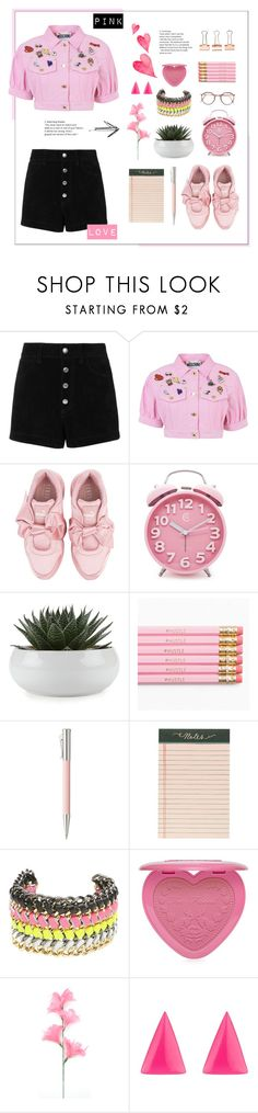"""""""Pink love"""" by annabelleariane ❤ liked on Polyvore featuring rag & bone/JEAN, Moschino, Puma, Faber-Castell, Rifle Paper Co, CC SKYE, Too Faced Cosmetics, Alexis Bittar, love and Pink"""