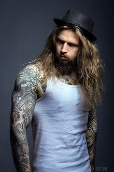 Hot Guys Tattoos, Hair Tattoos, Tatoos, Lomg Hair, Tatted Guys, Sexy Tattooed Men, Awesome Beards, Facial Hair, Perfect Man