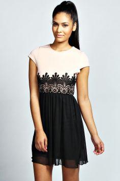 Candice Crochet Waist Skater Dress