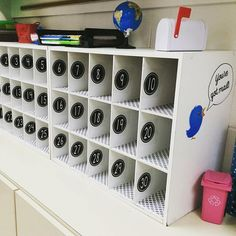 You\'ve got mail! Look how @msgranados3rd used shoe organizers as student mailboxes. These turned out great! Student numbers are a great addition too. #earlycorelearning