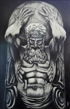 Coal and chalk by ibrahimvardar on DeviantArt God Tattoos, Warrior Tattoos, Body Art Tattoos, Tattoo Drawings, Greek Mythology Tattoos, Greek Mythology Art, Zeus Tattoo, Statue Tattoo, Tatouage Hercules