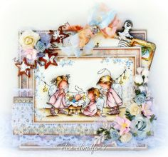 """Paper Love Affair - LOTV image """"Nativity Angels"""" - coloured with distress inks"""