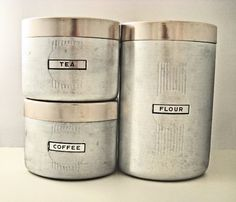 Vintage Art Deco Aluminum Canister Set - Labeled Coffee, Tea & Flour Kitchen Storage Tins - Mid-Century Metal Kitchenware - Svpply