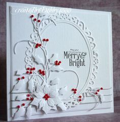 handmade Christmas card from A Scrapjourney . one of Debby's favorites . I luv it too! white on white with die cuts including Starbinders holly, poinsettia and lacey fram . bright red beads as holly berries and flower center . Homemade Christmas Cards, Christmas Cards To Make, Xmas Cards, Homemade Cards, Handmade Christmas, Holiday Cards, Christmas Christmas, Beautiful Christmas Cards, Christmas Poinsettia