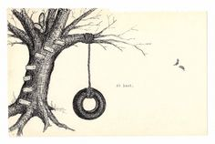 Autumn Tree House and Tire Swing Ink Drawing Fine Art Print | meaganmoore - Drawing on ArtFire