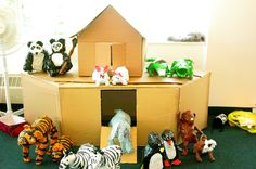 Make an Ark out of cardboard boxes (no instructions - use as inspiration). Make it large enough for play animals (plastic or stuffed animals even) or even larger for several kids. Let the kids wear animal masks and play out the story.