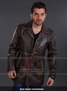 Supernatural Distressed Brown Coat Real Cowhide Leather Jacket  Jacket Features:   Outfit type: Genuine Leather Jacket Gender: Male Color: Brown Front: Front ButtonClosure Collar: Shirt Style Collar Lining: Viscose Lining Cuffs: Rib-Knit Cuffs Pockets: Two pockets on Front