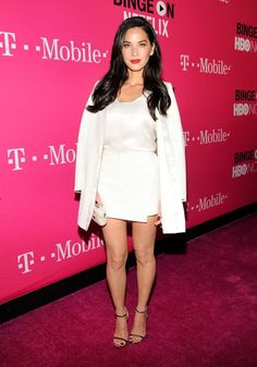 Olivia Munn Is Developing Untitled CW Female Sportscaster Drama!: Photo Olivia Munn is gorgeous while hitting the pink carpet at the T-Mobile Un-carrier X Launch Celebration held at The Shrine Auditorium on Tuesday (November in Los… Olivia Munn, White Skirts, Mini Skirts, Keisha Grey, Skirt Suit, Looking Gorgeous, Nice Dresses, Celebrity Style, Celebrity Pictures