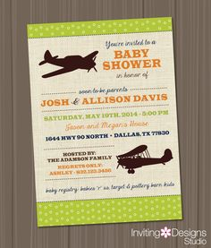 Travel Baby Shower Invitation, Vintage Toys, Transportation, Airplanes, Green, Orange, Blue  (PRINTABLE FILE) by InvitingDesignStudio on Etsy