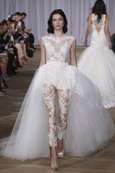 Lace bridal trousers / bridal cat suit Ines di santo 2016