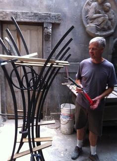 Bob Dyehouse creating art rack bike rack for CCAC