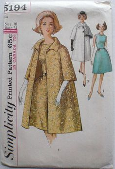 Simplicity 5194 - Vintage 60's Sewing Pattern - Standaway Collar Coat and Dress With Fitted Bodice - Size 10, Bust 31 - Uncut