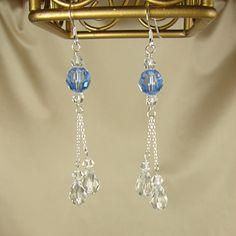 Swarovski Crystal Jewelry Handmade Clear AB Crystal Tassel Earrings
