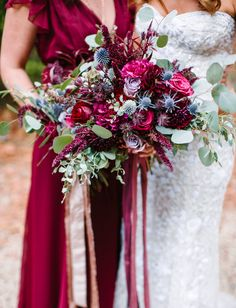 Stunning rich berry-colored bridesmaid bouquets are lovely for late summer through early winter weddings. Berry Wedding, Green Wedding, Floral Wedding, Fall Wedding, Diy Wedding, Wedding Ideas, Wedding Ceremony Flowers, Flower Bouquet Wedding, Wedding Themes