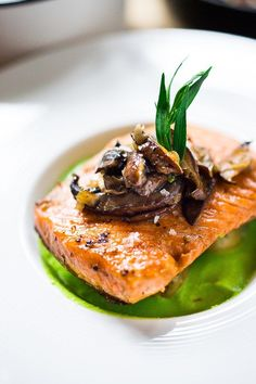 Pan-Seared Trout w/ Mushrooms, New Potatoes & Truffled Spring Pea Sauce…