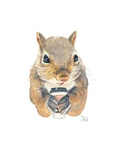 latte for a squirrel (by water in my paint)