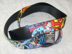 BATMAN SUPERMAN DC SUPERHERO  SEAT BELTSTYLE ADJUSTABLE POLYESTER  BELT OSFM #BUCKLEDOWN
