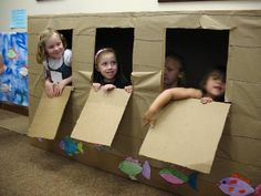Noah's Ark! Build in classroom have children become the animals.  Could use animal mask and blue table cloths for ocean.