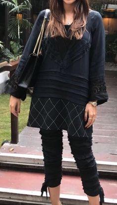 black beauty, short black shirt, stylish balck kurta, jeans shirt, top in black Simple Dresses, Casual Dresses For Women, Casual Outfits, Fashion Outfits, Clothes For Women, Fashion Blouses, Short Kurti Designs, Kurta Designs, Latest Pakistani Dresses