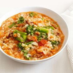 Sausage Broccolini Risotto Recipe - ZipList.  Delicious! Make with cheddar cheese next time