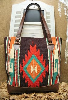 Brown Southwest Navajo Rug Tote Purse