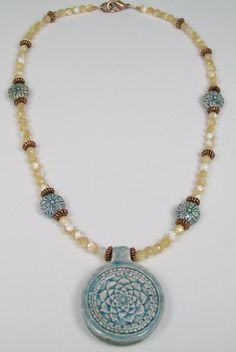 pretty beaded necklaces homemade | Raku Flower Pendant and Mother of Pearl Necklace