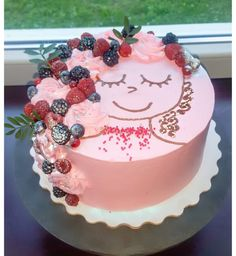 Cute Cakes, Pretty Cakes, Beautiful Cakes, Amazing Cakes, Dessert Simple, Pastel Cakes, Funny Cake, Berry Cake, Cake Decorating Tips