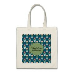 Cute Personalized Pink and Peach Flowers on Blue Tote Bag - flower gifts floral flowers diy
