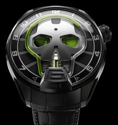 "HYT Skull Watch Is Cool, Does Not Indicate Minutes - by Ariel Adams - see and read more about it on aBlogtoWatch.com ""If you are a bit confused by how to read the brand's newest watch - then worry not, so was I. What you need to know is that the dial of the HYT Skull indicates the hours, seconds, and has a power reserve indicator. That's right, the HYT Skull has no need for minutes. What, are you in a rush or something? You've got a futuristic skull on your wrist…!"""