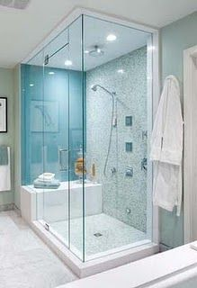 really nice shower for the master bath, but see-through shower walls are creepy.