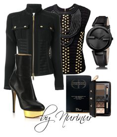 """""""Total BLACK."""" by nurinur ❤ liked on Polyvore featuring Dsquared2, Gucci, Charlotte Olympia and Christian Dior"""