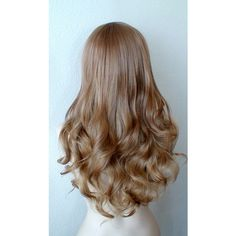 Honey blonde blonde Ombre wig. Long curly volume hair Long side bangs... ($130) ❤ liked on Polyvore featuring beauty products, haircare, hair styling tools and curly hair care