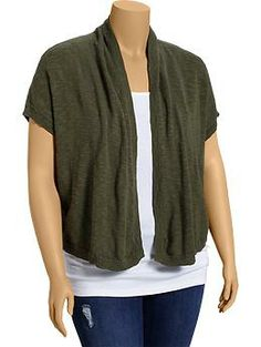 Womens Plus Open-Front Cropped Cardis