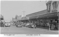 Eaton Street shops (now a mall) Oakleigh Melbourne Suburbs, The 'burbs, Melbourne Victoria, Historical Pictures, Vintage Photographs, Old Photos, Past, Street View, Australia