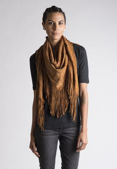 Treasures Perforated Fringed Triangular Suede Stole in Cognac