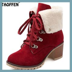 b4f89fbf306b3f TAOFFEN Size 34-43 Ladies Thick Fur Ankle Boots Women High Heels Short Boots  With