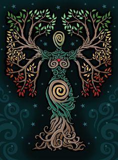 ideas tattoo tree of life albero della vita for 2019 Pagan Art, Goddess Art, Earth Goddess, Illustration, Celtic Art, Nature Paintings, Book Of Shadows, Tree Art, Oeuvre D'art